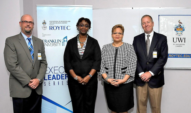 Representatives of UWI-ROYTEC and Franklin University at the launch of the M.Sc. Business Psychology